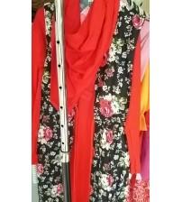 baju gamis merah bunga